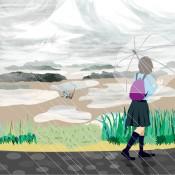 2012年7月11日に描いたイラストです。14年前の那覇新都心で助けを求めている友人の絵です。
