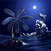 2012年7月10日に描いたイラストです。闇夜に浮かんだ月を観ています。