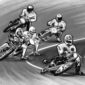 MOOK『大人の裏作法』に描かせていただいたイラスト。この絵を描くまでオートレースがバイクのレースだと知らなかった。。