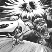 実話ナックルズ「死ぬかと思った特集」に描かせていただいたイラスト。首だけになった落ち武者の呪いで、男が車に轢かれています。