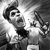 実話ナックルズに描かせていただいたイラストです。チェーンソーで間違って自分の首を切ってしまっています。
