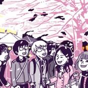 ブログに描いたオリジナルのイラストです。夜桜を眺める人たちを描いています